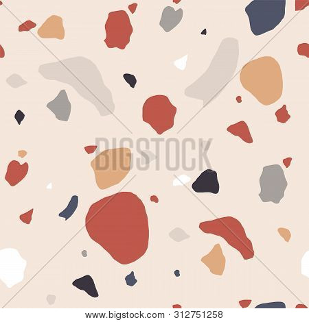 Terrazzo Seamless Pattern With Motley Rock Splinters. Trendy Backdrop With Stone Crumbs Or Sprinkles