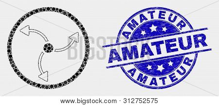 Dotted Turbine Rotation Mosaic Pictogram And Amateur Stamp. Blue Vector Round Textured Stamp With Am