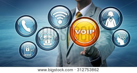 Unrecognizable Consultant Is Highlighting A Voip Icon. Business And Communication Technology Concept