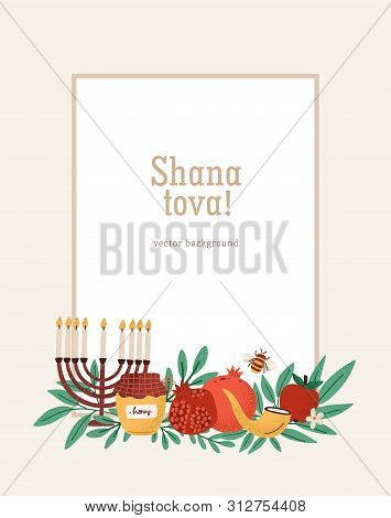 Rosh Hashanah Poster, Greeting Card Or Invitation Template With Shana Tova Inscription Decorated By
