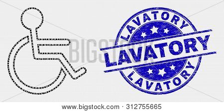 Pixelated Wheelchair Person Mosaic Pictogram And Lavatory Watermark. Blue Vector Rounded Grunge Stam