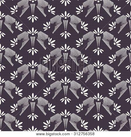 Art Nouveau ornamental flower motif Jugenstil style. Vector seamless pattern. Retro floral damask textiles swatch. Decorative arts crafts folksy home decor. Modernist trendy monochrome all over print. poster