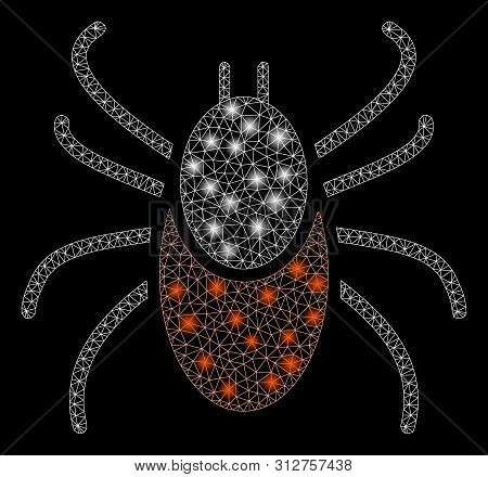 Glossy Mesh Mite With Sparkle Effect. Abstract Illuminated Model Of Mite Icon. Shiny Wire Carcass Tr