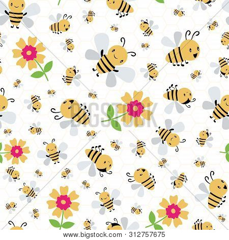 Cute Cartoon Honey Bees And Flowers On White And Yellow Honeycomb Background. Seamless Vector Patter