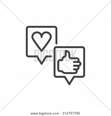 Customer Feedback Line Icon. Positive Reviews Linear Style Sign For Mobile Concept And Web Design. S