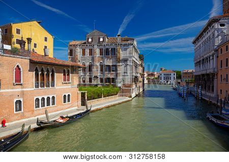 View On Canal Cannaregio From Guglie Bridge ( Ponte Delle Guglie ) In Venice, Italy