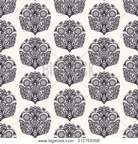 Floral Leaf Paisley Motif Persian Style. Vector Seamless Pattern. Arabesque Boteh Foulard Textiles S