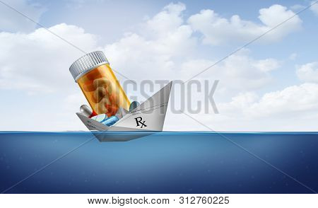 Prescriptions And Drug Coverage Policy Or Medicare And Medical Insurance Symbol As A Paper Boat Made