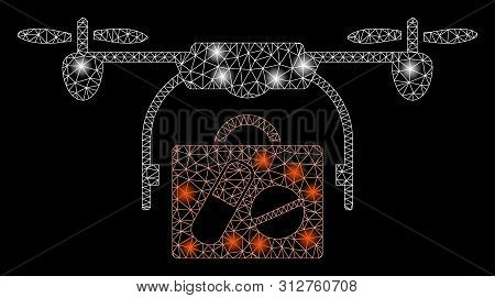 Glowing Mesh Medical Drone Shipment With Glare Effect. Abstract Illuminated Model Of Medical Drone S