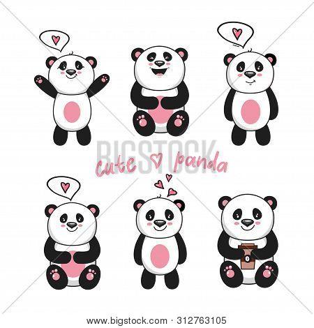 Cute Baby Pandas. Toy Animals Chinese Symbols Panda Bear Adorable Funny Baby Mascot Vector Character