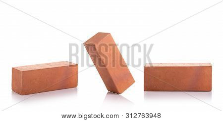 New Red Terracotta Brick For Build The Wall Isolated On White