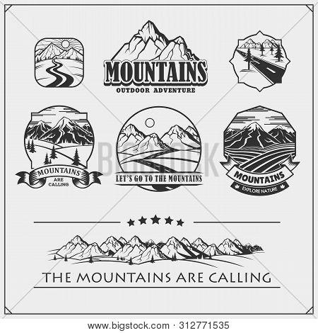 Camping Club Emblems, Badges And Design Elements. Retro Set Of Mountain Tourism, Forest Camping, Out