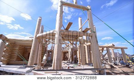 Beautiful View Of Building Under Construction Wooden House. Clip. Initial Construction Of Wooden Hou