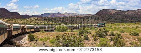 Clarkdale, Arizona, May 30. The Verde Canyon Railroad Train On May 30, 2019, Near Clarkdale, Arizona