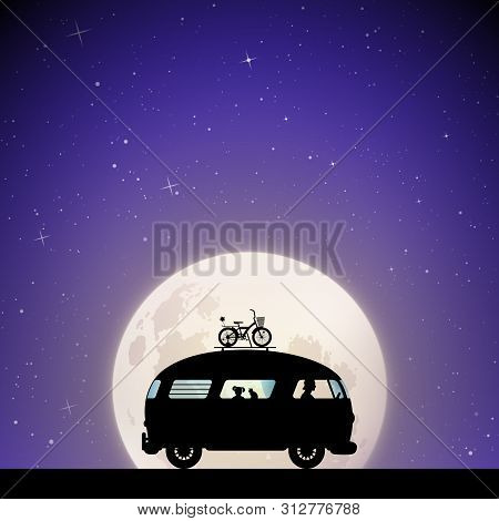 Cartoon Retro Car On Road On Moonlit Night. Vector Illustration With Silhouettes Of People And Cat T