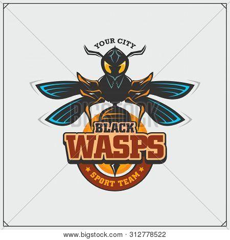 Wasp Emblem And Design Elements. Dangerous Stinging Insect. Sport Club Emblem. Print Design For T-sh
