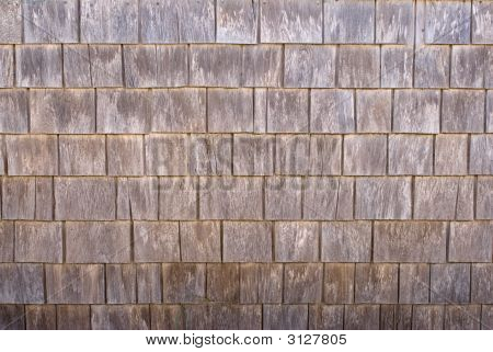 Weathered Cedar Wood Siding Shingles, Texture, Background