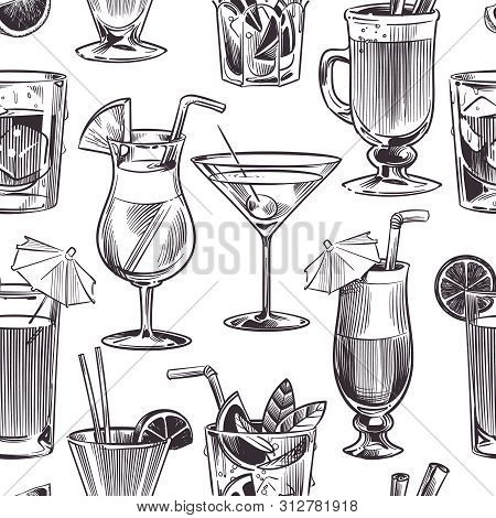 Cocktail Seamless Pattern. Hand Drawn Cocktails And Alcohols Drink With Different Wineglasses, Bar M