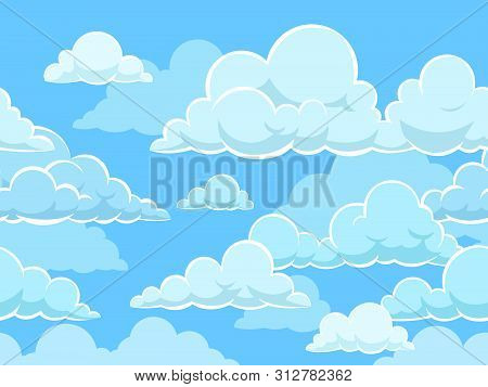 Cartoon Seamless Clouds Background. Pattern With Blue Cloudy Sky. Cloudscape Panorama, Cute Kids Wal
