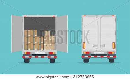 Open Delivery Truck With Cardboard Boxes And Closed Truck. Isolated On Blue Background. Back View. T