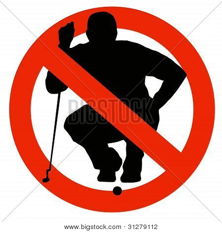 Golf Player Silhouette On Traffic Prohibition Sign