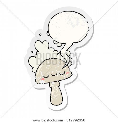 cartoon mushroom with spoor cloud with speech bubble distressed distressed old sticker