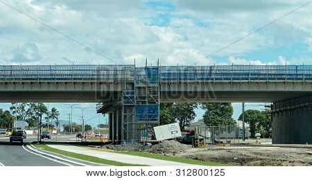 Mackay, Queensland, Australia - July 2019: Roadwork Infrastructure Building A New Highway Overpass