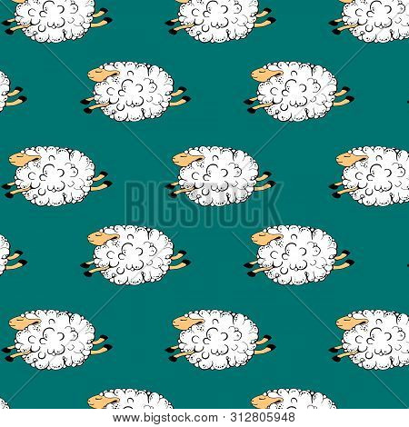 Flying Sheep On A Green Background. Dancing Sheep. Soaring Sheep. Seamless Pattern With Sheeps. Vect
