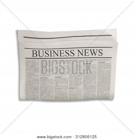 Mockup Of Business News Newspaper Blank With Empty Space For News Text And Images. Isolated On White