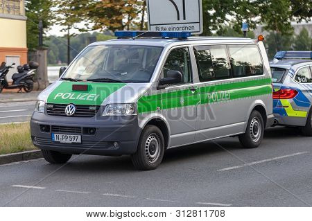 Nuremberg / Germany - July 22, 2019: Police Car From German Police Stands On A Street. Polizei Is Th