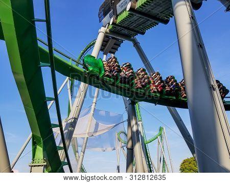 Orlando, Fl/united States - 04/06/2019: People Riding The Hulk Roller Coaster At Islands Of Adventur