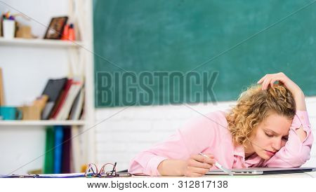 Tired Tutor Fall Asleep At Workplace. Tired Student Lean On Desk. Exhausting Lesson. Teacher Exhaust