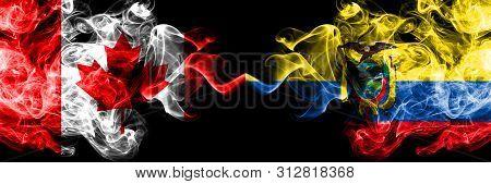 Canada Vs Ecuador, Ecuadorian Smoky Mystic Flags Placed Side By Side. Thick Colored Silky Smoke Flag