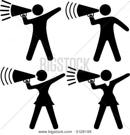 Symbol Menschen & Cheerleader inmitten Shout Ankündigung Megaphone.Eps