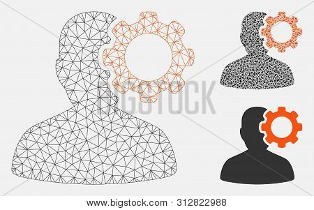 Mesh Migraine Model With Triangle Mosaic Icon. Wire Carcass Triangular Mesh Of Migraine. Vector Mosa