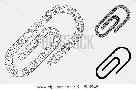 Mesh Paperclip Model With Triangle Mosaic Icon. Wire Carcass Polygonal Network Of Paperclip. Vector