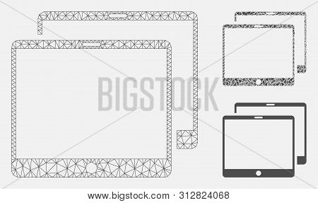 Mesh Mobile Tabs Model With Triangle Mosaic Icon. Wire Carcass Polygonal Mesh Of Mobile Tabs. Vector