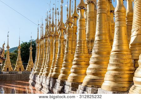 Inle Lake, Myanmar - 30 November, 2018: Horizontal Picture Of Impressive Architecture Of The Stupas