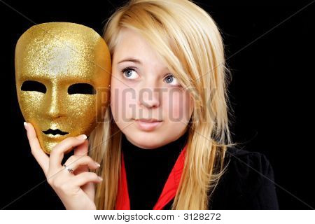 Blond Girl With Gold Mask