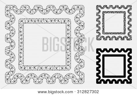 Mesh Postal Mark Model With Triangle Mosaic Icon. Wire Carcass Polygonal Mesh Of Postal Mark. Vector