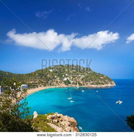 Ibiza Cala Sant Vicent also San Vicente aerial in Balearic Islands