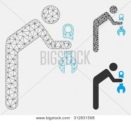 Mesh Serviceman Model With Triangle Mosaic Icon. Wire Frame Triangular Mesh Of Serviceman. Vector Co