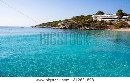 Ibiza Portinatx Arenal Gran beach in Balearic Islands of Spain