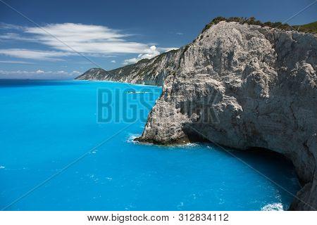 Beautiful turquoise sea on the island of Lefkada, Greece.
