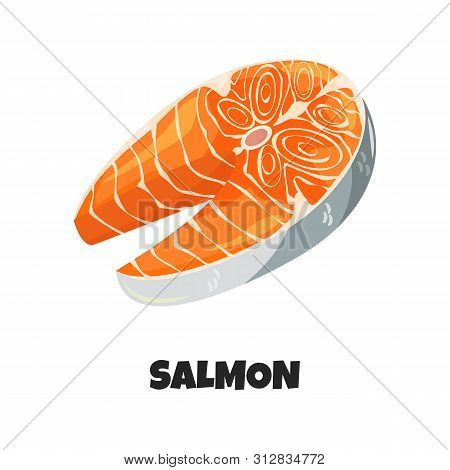 Vector Realistic Illustration Of Raw Steak Of Fish Salmon. Fillet Of Fish Humpback Salmon Or Trout I