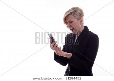 Screaming Secretary With Phone