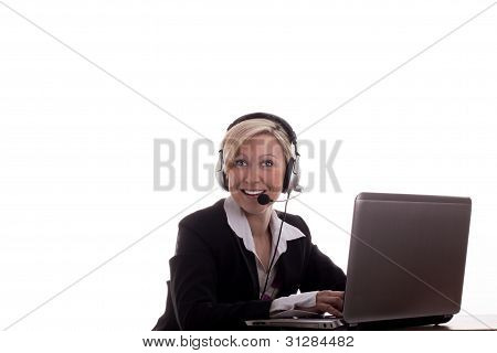 Secretary With Headset And Laptop