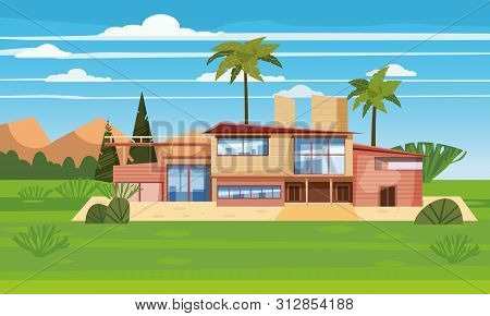 Modern Villa On Residence In Exotic Country, Expensive Mansion In Lahdscape Tropics Palm Trees. Luxu