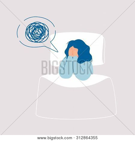 Girl In Depression Has Confused Thoughts In Her Mind At Night, Covering Her Face With Her Hands.tire