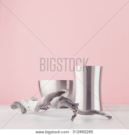 Easy Home Design For Home With Silver Elegant Glossy Bowl, Vase, Old Shabby Snag On White Wood Board